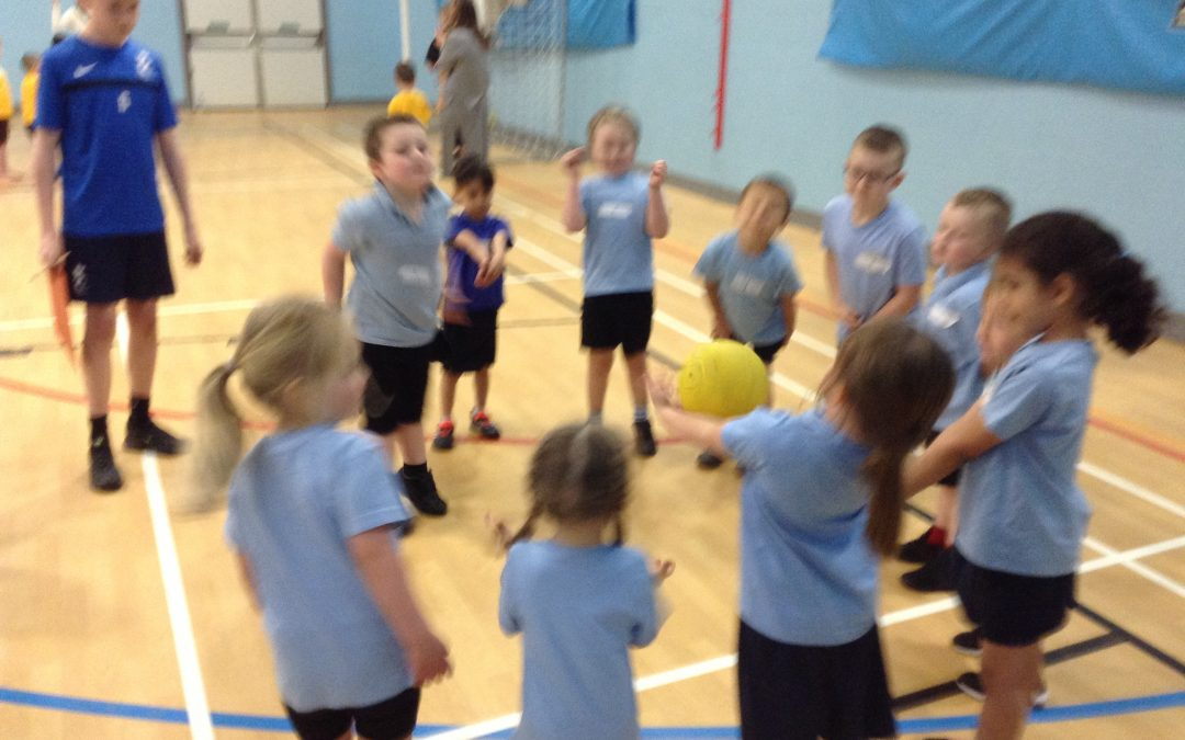 On Monday some children from Class RC and RF went to Kingsmedow school and took part in some ball skills activities. We had to control the ball by throwing, catching, kicking and rolling it. We had lots of fun!