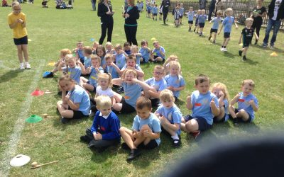 We all had great fun taking part in all the activities in our sports day! We dribbled the ball, we jumped on space hoppers and in sacks and we completed an obstacle course. We were all lovely friends to each other and cheered our team on!