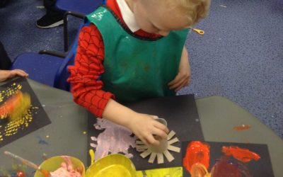 We have enjoyed exploring ice, making firework pictures and changing the play dough into icy dough!