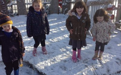 Fun in the Snow! The children were so excited to see the snow falling, so we all went outside to explore it.