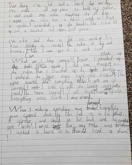 Year 3 Diary Entries – Girl and Robot